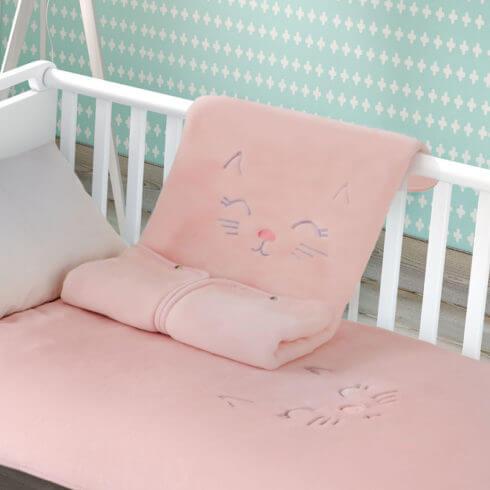 Sac de dormit bebelusi roz Kitten