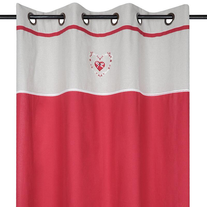 Draperie rustica rosie cu inimioara Pauline